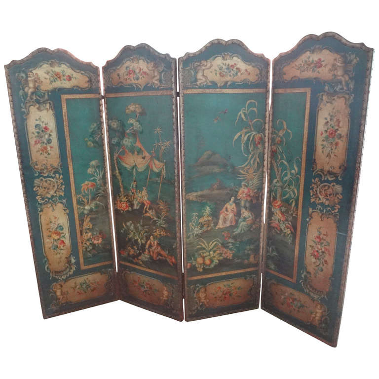 Antique Italian 4 Panel Leather Screen Or Room Divider With