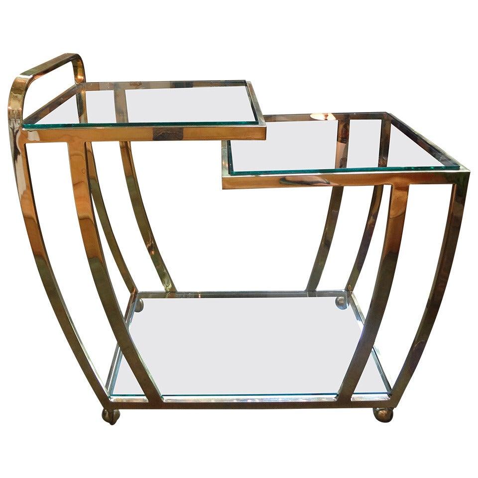 Italian Mid Century Modern Brass And Glass Bar Cart At 1stdibs