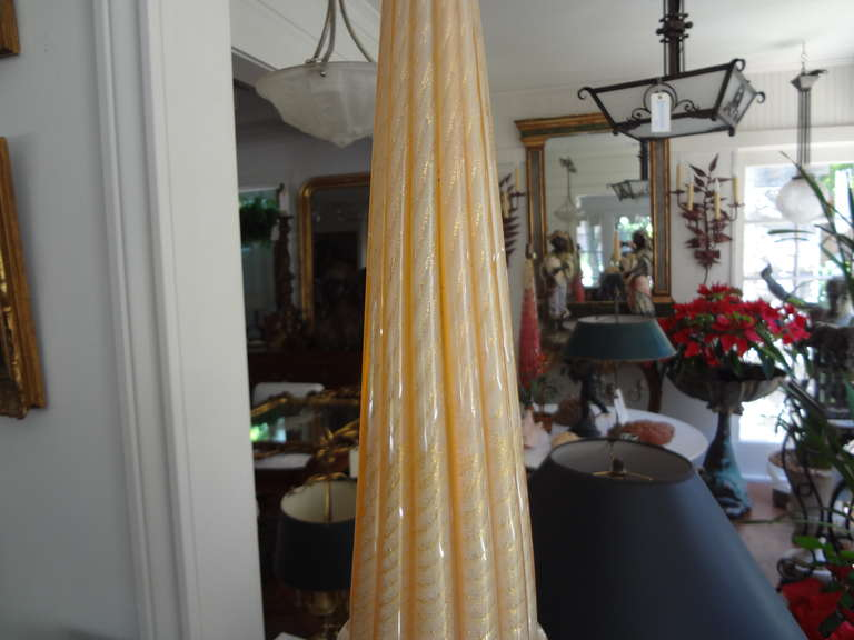 Italian Large Gold Murano Glass Lamp by Barovier For Sale