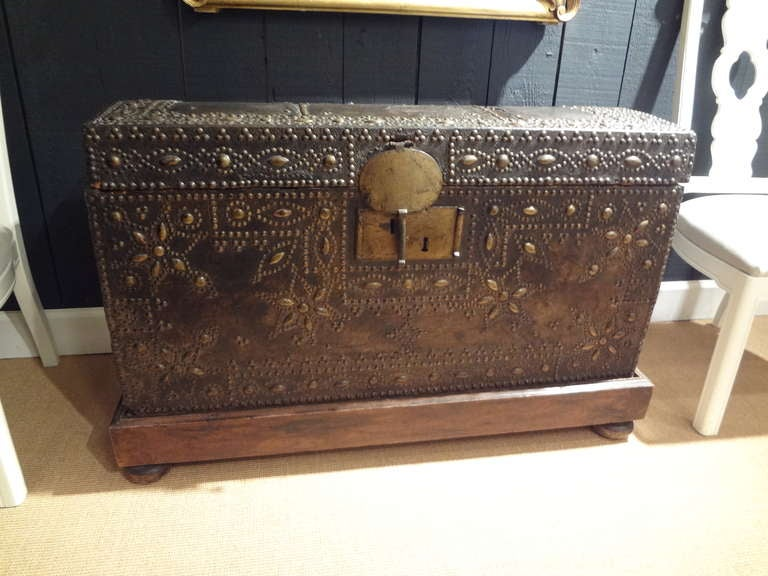 17th Century French Leather Clad Coffer or Blanket Chest 6