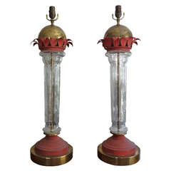 Tall Pair Of Mid Century Modern Italian Glass, Brass And Tole Lamps