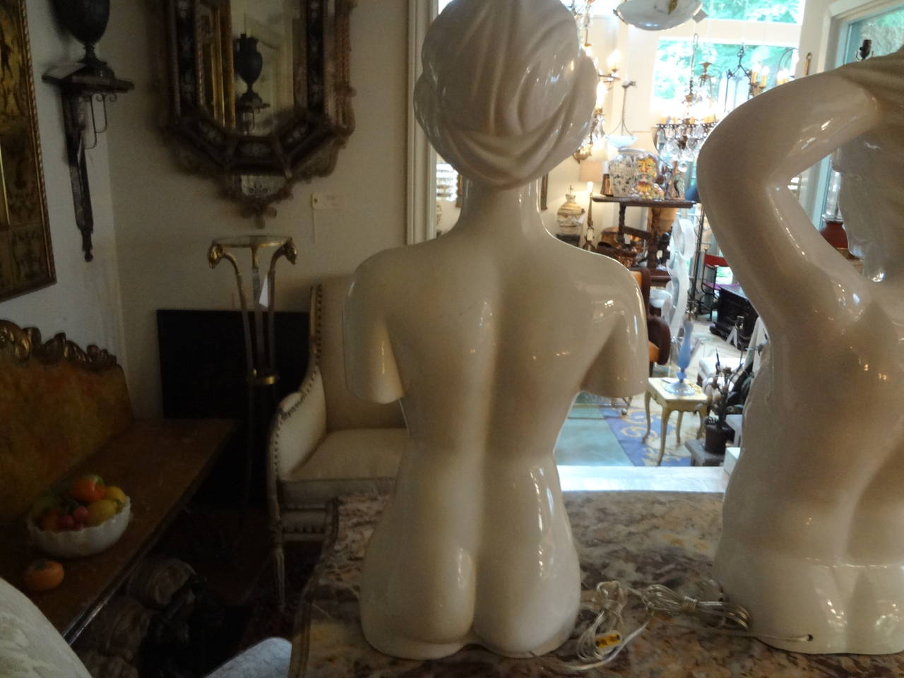 Mid-Century Modern Pair of Italian Hollywood Regency Pottery Torso Lamps For Sale