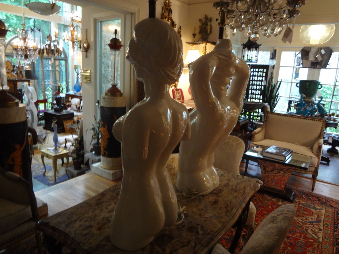 Mid-20th Century Pair of Italian Hollywood Regency Pottery Torso Lamps For Sale