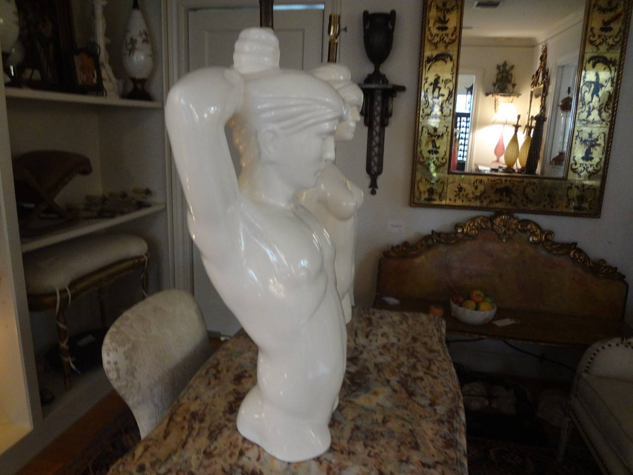 Pair of Italian Hollywood Regency Pottery Torso Lamps For Sale 1