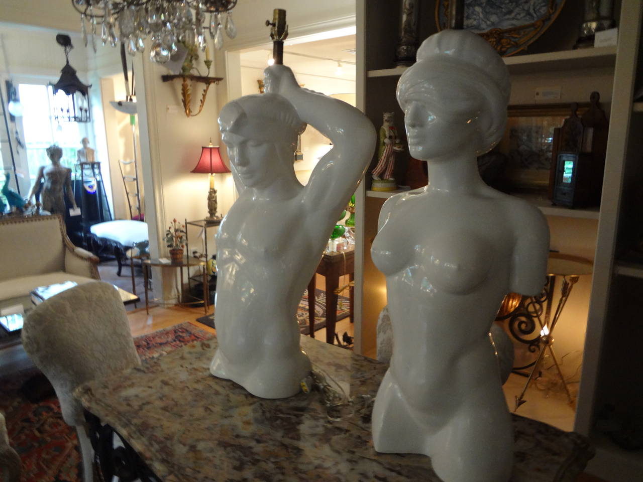 Pair of Italian Hollywood Regency Pottery Torso Lamps For Sale 3