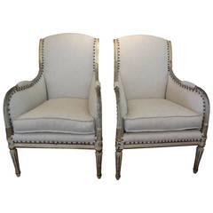 Pair of 19th Century Swedish Gustavian Style Bergeres
