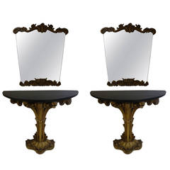 Pair of Italian Painted and Gilt Console Tables with Accompanying Mirrors
