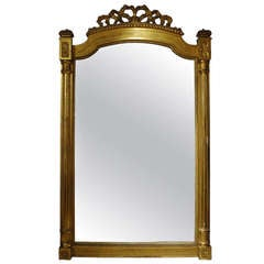 "Large 19th Century French Louis XVI Style Gilt Wood Mirror  78"" H"