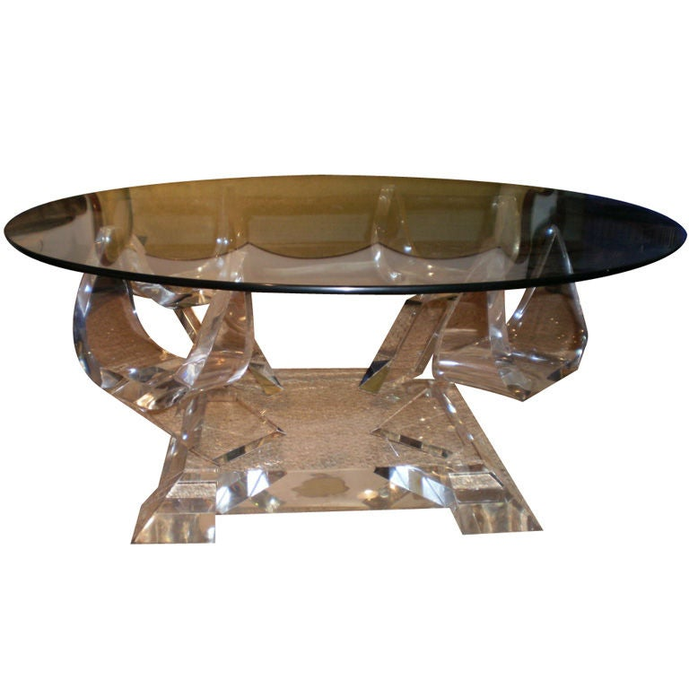 Acrylic Cocktail Table With Glass Top At 1stdibs