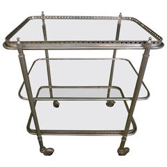 French Three-Tier Nickel-Plated Cart