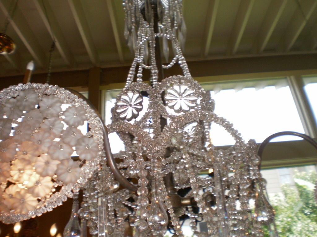 French Bacarrat 3 Light Crystal Chandelier At 1stdibs