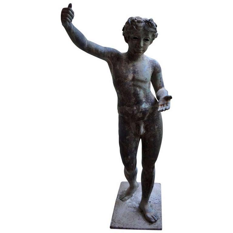 Classical cast iron garden statue at 1stdibs - Wrought iron garden sculptures ...