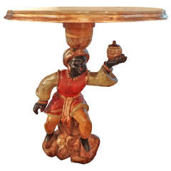 Venetian Carved Wood Blackamoor Table