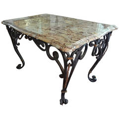 Poillerat Inspired French Rectangular Wrought Iron Center Table With Marble Top