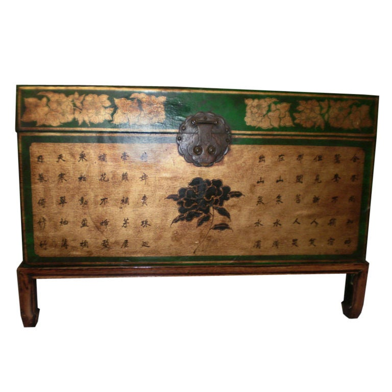 19th Century Chinese Leather Trunk on Stand