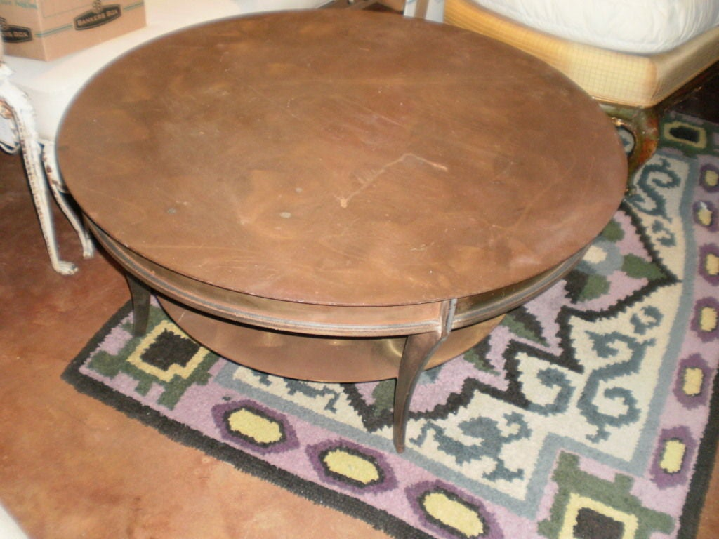 Handsome french modernist round brass cocktail table at 1stdibs Brass round coffee table