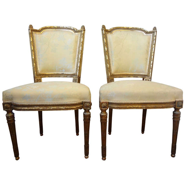 Pair Of Antique French Louis XVI Style Gilt Wood Chairs 1Pair Of Antique French Louis XVI Style Gilt Wood Chairs For Sale  . Louis Xvi Style Furniture For Sale. Home Design Ideas