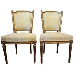 Pair Of Antique French Louis XVI Style Gilt Wood Chairs