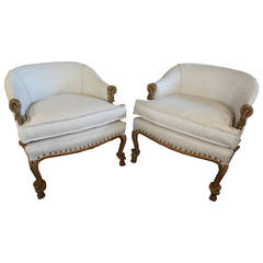 Pair of French Twisted and Knotted Rope Upholstered Chairs