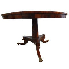 English Regency Rosewood Tilt Top Pedestal Center Table