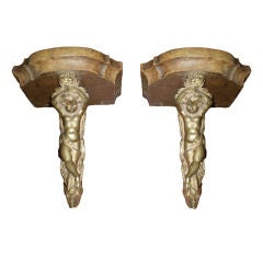 Pair Of 19th Century French Bronze And Wood Wall Brackets-SATURDAY SALE