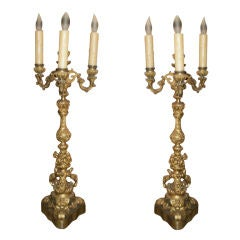 Pair Of 19th Century French Louis XV Style Gilt Bronze Candelabras 26.5 Inches
