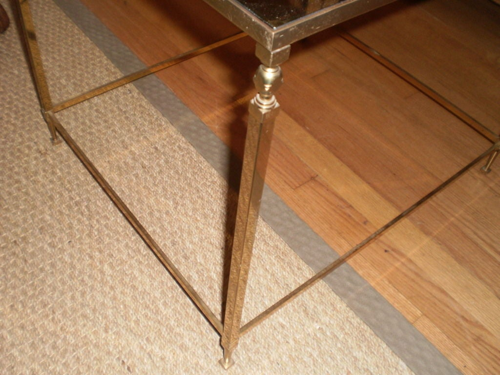 Louis XVI French Maison Jansen Inspired Brass Table For Sale