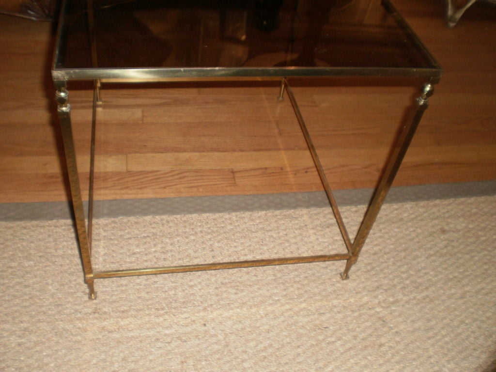 French Maison Jansen Inspired Brass Table In Good Condition For Sale In Houston, TX