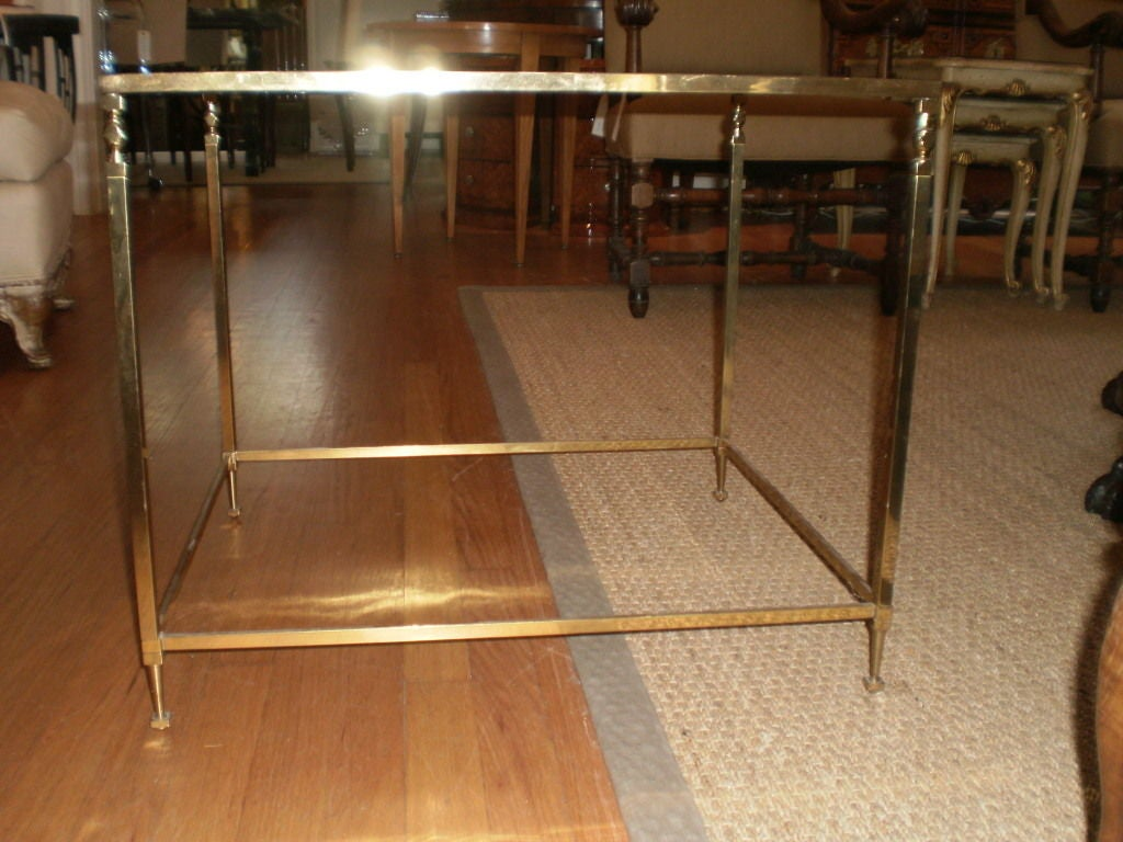 Mid-20th Century French Maison Jansen Inspired Brass Table For Sale