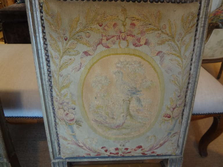 Tapestry Pair of Antique French Louis XVI Side Chairs For Sale