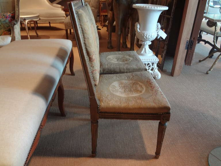 Pair of Antique French Louis XVI Side Chairs For Sale 2