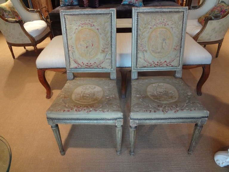 Pair of Antique French Louis XVI Side Chairs For Sale 4