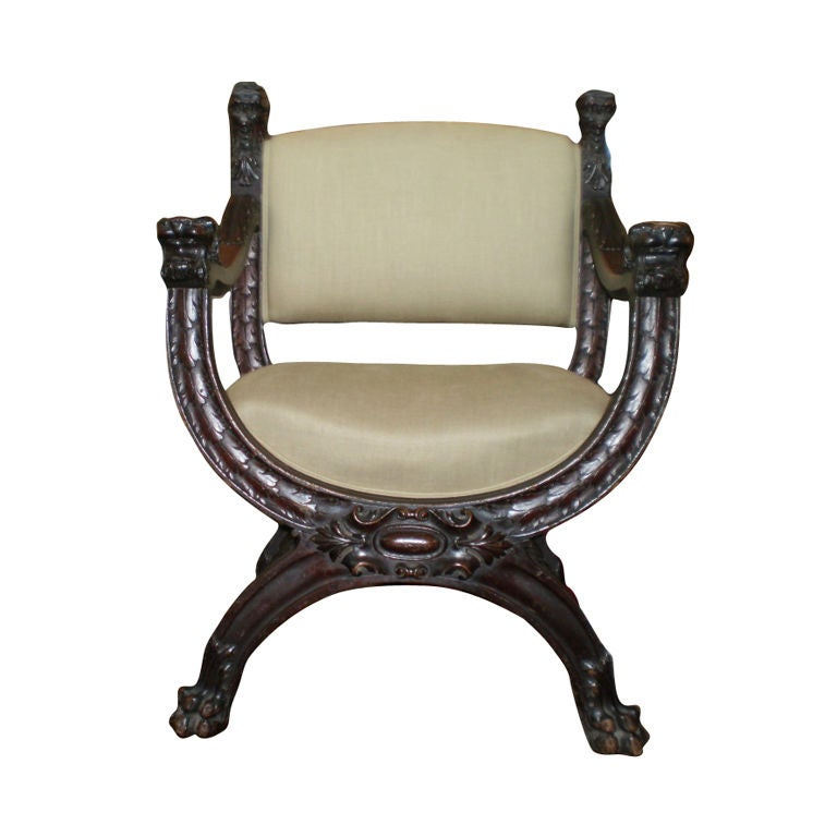 Italian Carved Walnut Renaissance Style Chair At 1stdibs