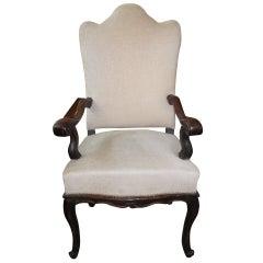 18th Century Italian Walnut Chair-Grand Scale