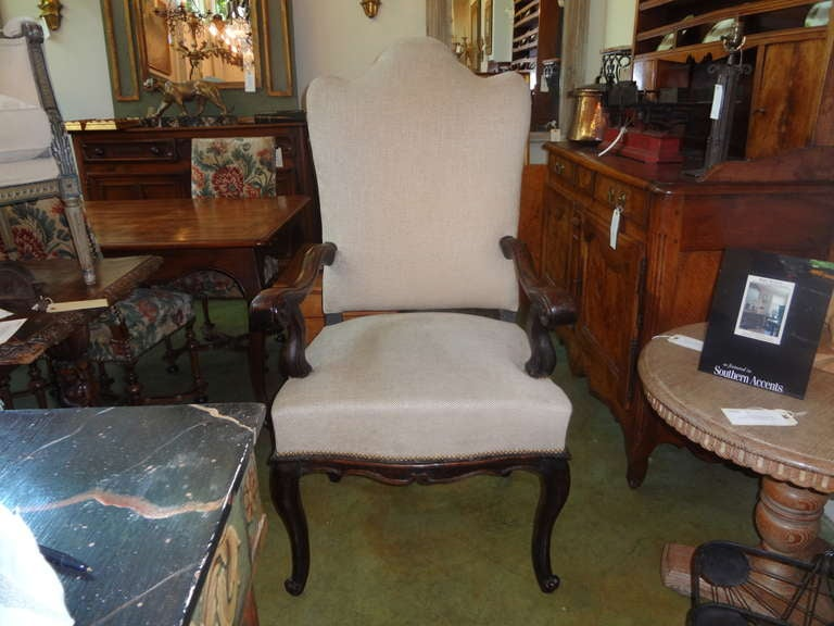 Very large antique Italian Louis XV walnut chair, armchair or side chair from Tuscany. This grand scale chair is both comfortable and sturdy and would accommodate a very large person. Would make a great side chair or desk chair. This armchair is