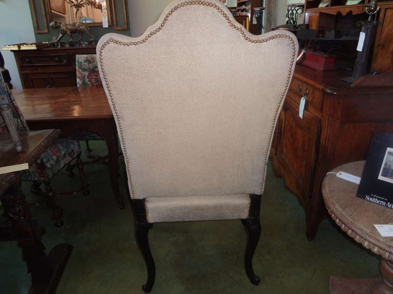 Fabric 18th Century Italian Walnut Chair Grand Scale For Sale