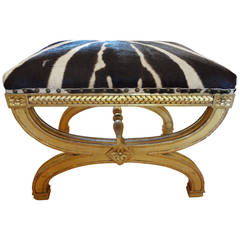 French Louis XVI Style Gilt Wood Stool Upholstered In Zebra Hide