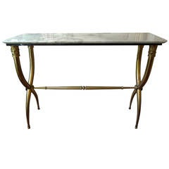 Italian Gio Ponti Style Brass Or Bronze Console Table