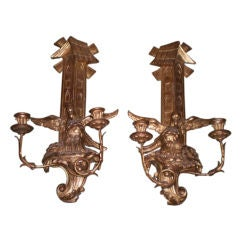 "Pair Of Large Antique Continental Gilt Wood Two Light Candle Sconces   24"" H"
