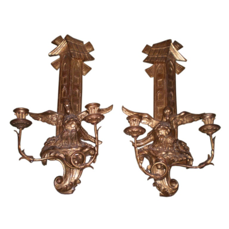 """Pair Of Large Antique Continental Gilt Wood Two Light Candle Sconces   24"""" H"""