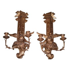 "Pair Of Large Antique Continental Gilt Wood Two Light Sconces   24"" H"