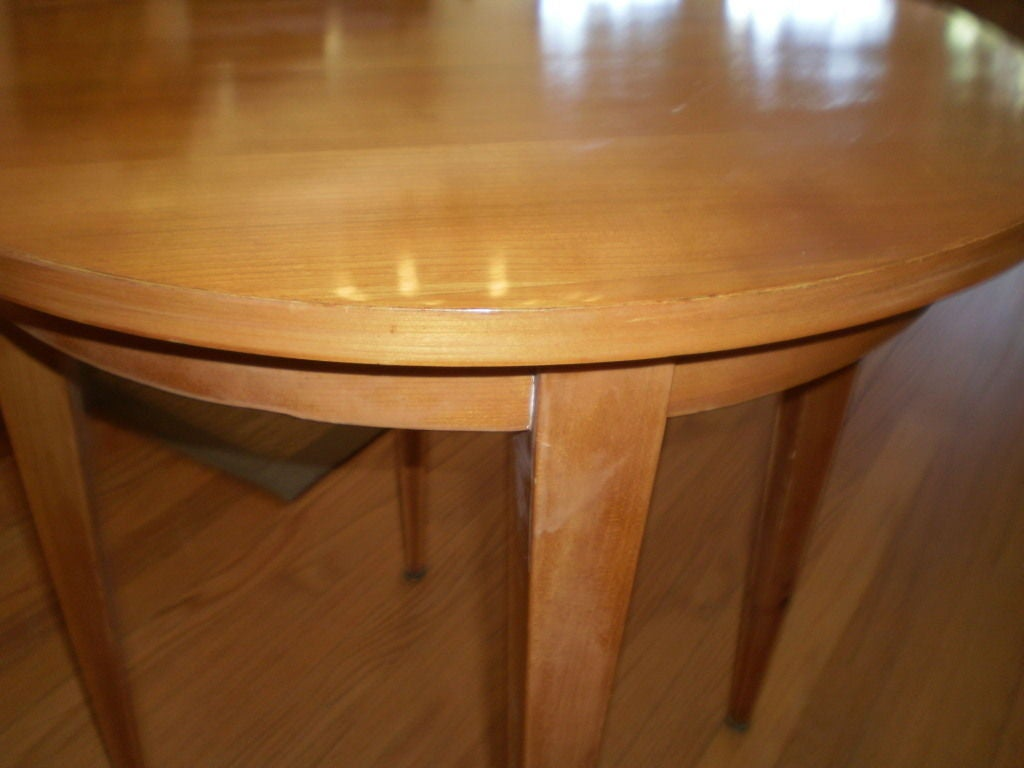 French Louis XVI style lemon wood table or gueridon with tapered legs.