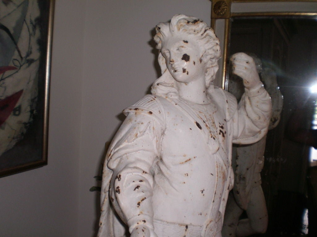 Northern Renaissance Antique Cast Iron Garden Statue Of A Cavalier For Sale