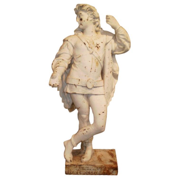 Antique Cast Iron Garden Statue Of A Cavalier For Sale