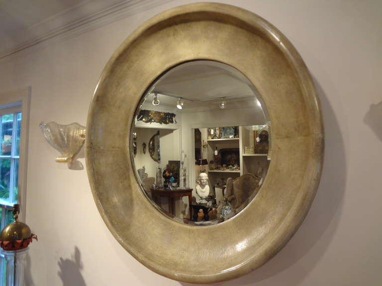Karl Springer Style Round Goatskin Beveled Mirror At 1stdibs
