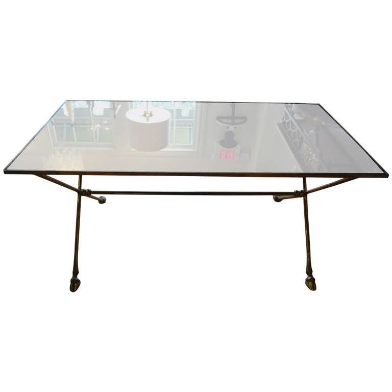 French Bronze Cocktail Table With Mirrored Top At 1stdibs