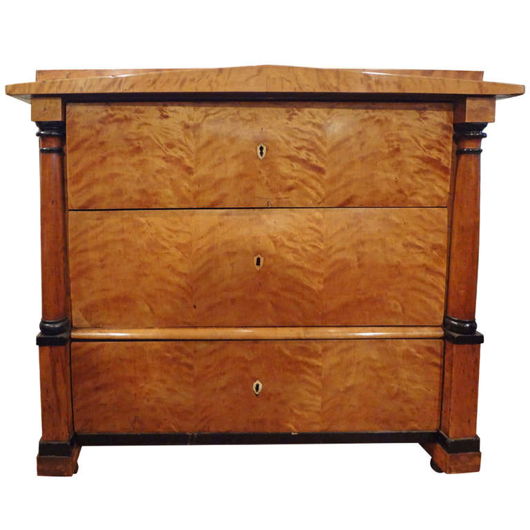 Antique Austrian Biedermeier Three Drawer Commode Or Chest For Sale