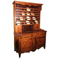 18th Century French Directoire Walnut Vaisselier Or Cupboard