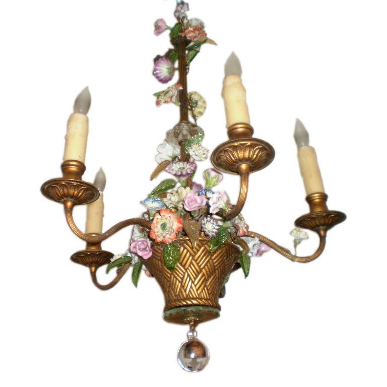 French Floral Basket Chandelier At 1stdibs