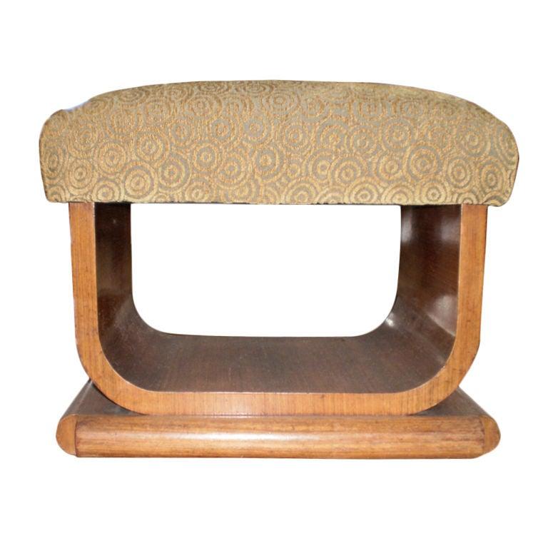 French Art Deco Walnut U-Shaped Bench Or Ottoman